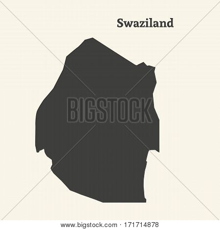 Outline map of Swaziland. Isolated vector illustration.