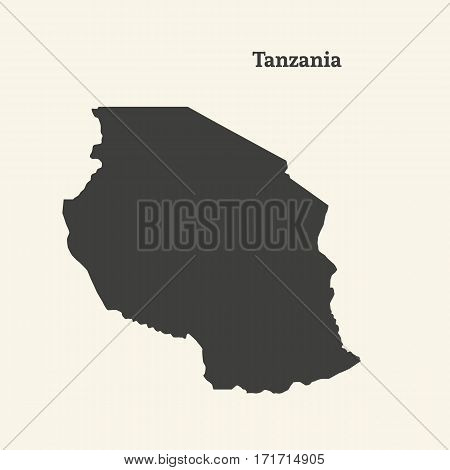 Outline map of Tanzania. Isolated vector illustration.