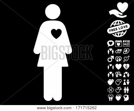 Mistress pictograph with bonus passion clip art. Vector illustration style is flat iconic white symbols on black background.