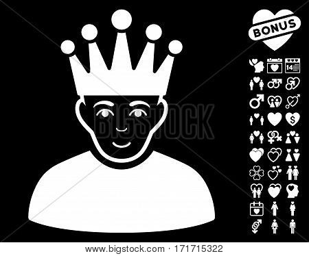 Moderator pictograph with bonus decorative images. Vector illustration style is flat iconic white symbols on black background.