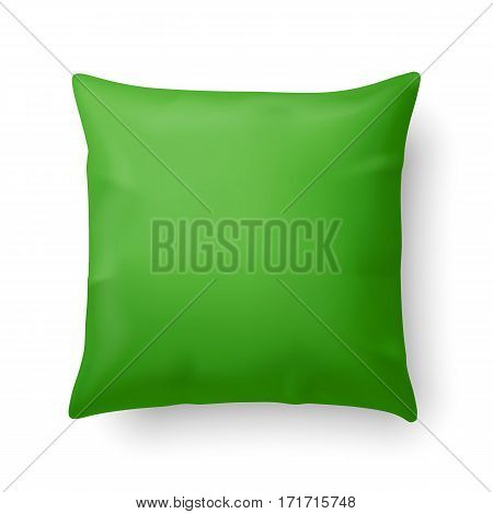 Close Up of a Green Pillow Isolated on White Background