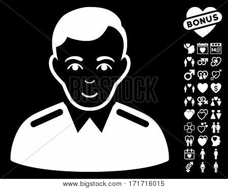 Officer pictograph with bonus marriage design elements. Vector illustration style is flat iconic white symbols on black background.