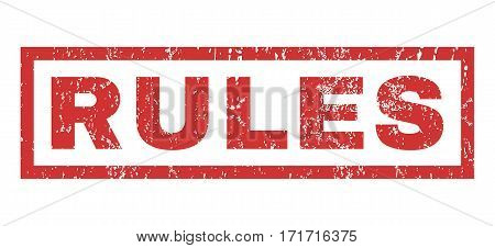 Rules text rubber seal stamp watermark. Caption inside rectangular banner with grunge design and dirty texture. Horizontal vector red ink sign on a white background.
