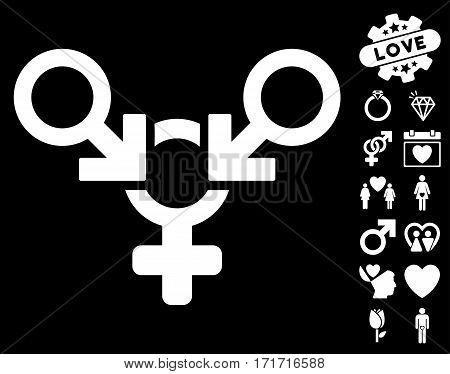 Polyandry pictograph with bonus decoration graphic icons. Vector illustration style is flat iconic white symbols on black background.