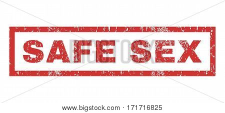 Safe Sex text rubber seal stamp watermark. Tag inside rectangular shape with grunge design and dirty texture. Horizontal vector red ink sticker on a white background.