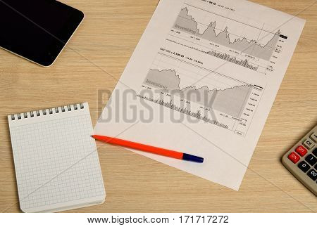 Showing Business And Financial Report. Stock Charts