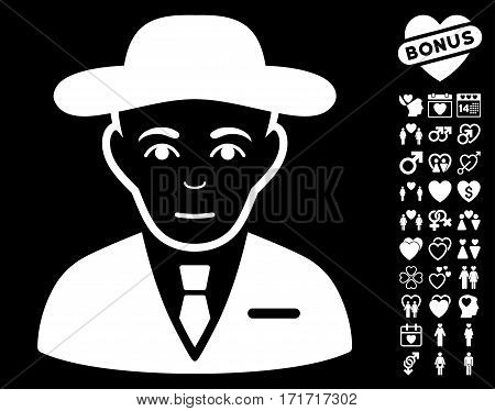 Secret Service Agent pictograph with bonus decorative pictures. Vector illustration style is flat iconic white symbols on black background.