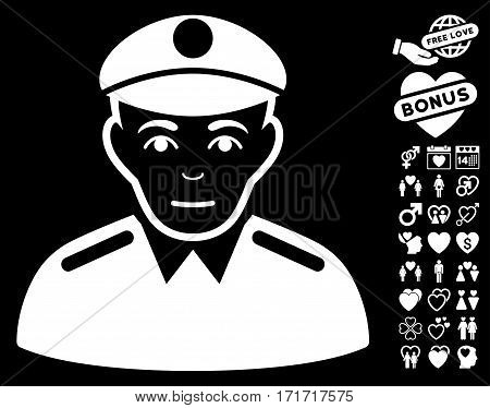 Soldier pictograph with bonus passion clip art. Vector illustration style is flat iconic white symbols on black background.