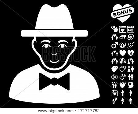 Spy pictograph with bonus romantic symbols. Vector illustration style is flat iconic white symbols on black background.