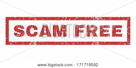 Scam Free text rubber seal stamp watermark. Caption inside rectangular shape with grunge design and dust texture. Horizontal vector red ink sign on a white background.