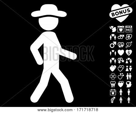 Walking Gentleman pictograph with bonus romantic pictograph collection. Vector illustration style is flat iconic white symbols on black background.