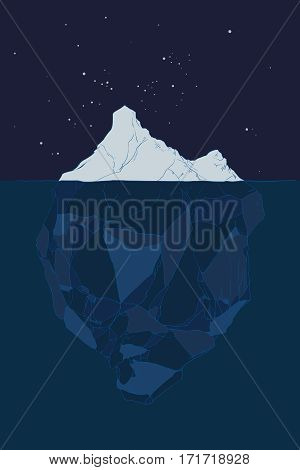 Iceberg in the night, hand drawn vector illustration