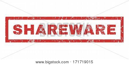 Shareware text rubber seal stamp watermark. Tag inside rectangular shape with grunge design and dirty texture. Horizontal vector red ink emblem on a white background.