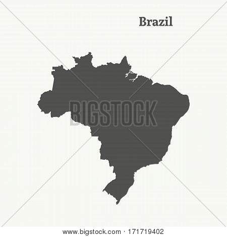 Outline map of Brazil. Isolated vector illustration.
