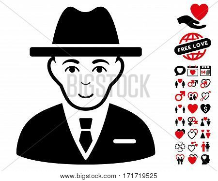 Agent icon with bonus passion symbols. Vector illustration style is flat iconic intensive red and black symbols on white background.