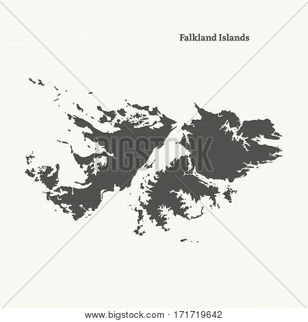 Outline map of Falkland Islands. Isolated vector illustration.