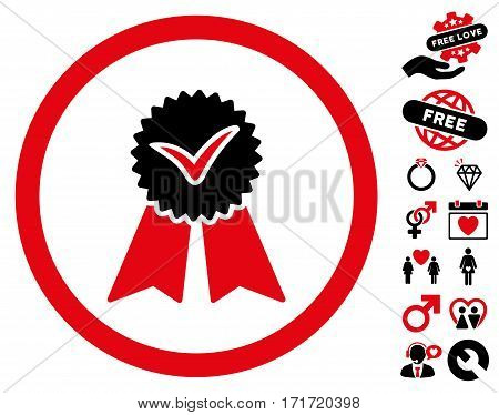 Approvement Seal pictograph with bonus passion icon set. Vector illustration style is flat iconic intensive red and black symbols on white background.