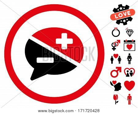 Arguments pictograph with bonus amour graphic icons. Vector illustration style is flat iconic intensive red and black symbols on white background.