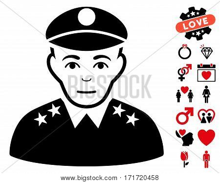 Army General icon with bonus amour pictures. Vector illustration style is flat iconic intensive red and black symbols on white background.
