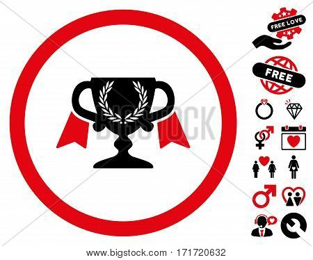 Award Cup icon with bonus dating pictures. Vector illustration style is flat iconic intensive red and black symbols on white background.