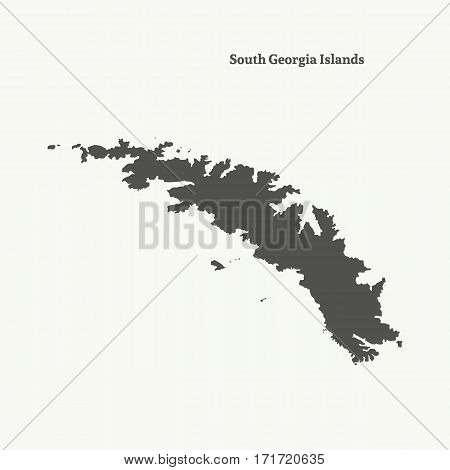 Outline map of South Georgia Islands. Isolated vector illustration.