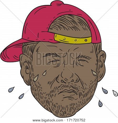Drawing sketch style illustration of an african-american rapper wearing hat crying set on isolated white background viewed from front.