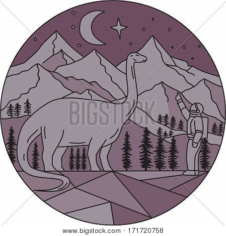 Mono line style illustration of an astronaut pointing to a brontosaurus with mountain moon and stars in the background set inside circle.