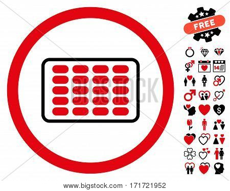 Blister icon with bonus marriage symbols. Vector illustration style is flat iconic intensive red and black symbols on white background.