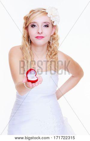 Bride Showing Proposal Ring