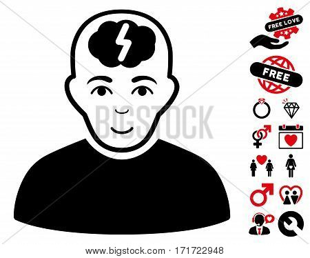 Clever Boy icon with bonus marriage symbols. Vector illustration style is flat iconic intensive red and black symbols on white background.