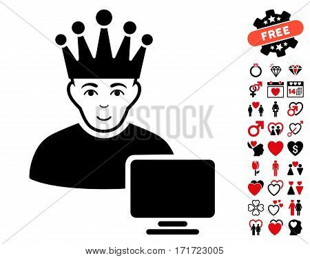 Computer Moderator icon with bonus dating design elements. Vector illustration style is flat iconic intensive red and black symbols on white background.