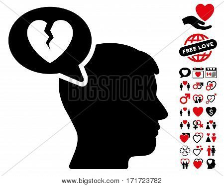 Divorce Thinking Man icon with bonus decorative pictograms. Vector illustration style is flat iconic intensive red and black symbols on white background.