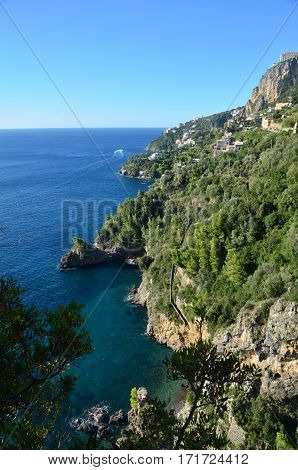 Beautiful scenic views of the Amalfi Coast looking down at the Mediterranean.