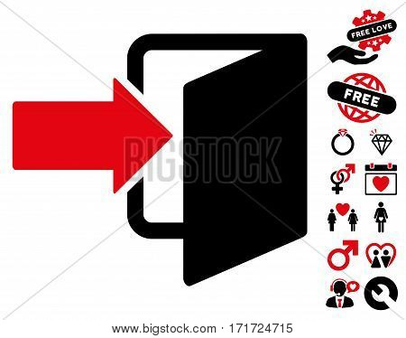 Exit Door pictograph with bonus passion pictograph collection. Vector illustration style is flat iconic intensive red and black symbols on white background.