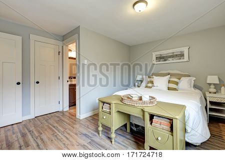 Lovely Pale Grey Bedroom Interior