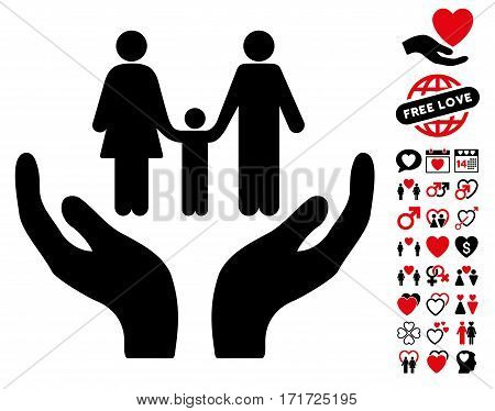Family Care Hands icon with bonus love symbols. Vector illustration style is flat iconic intensive red and black symbols on white background.