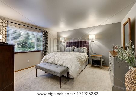 Lovely Bedroom With Grey Accent Wall