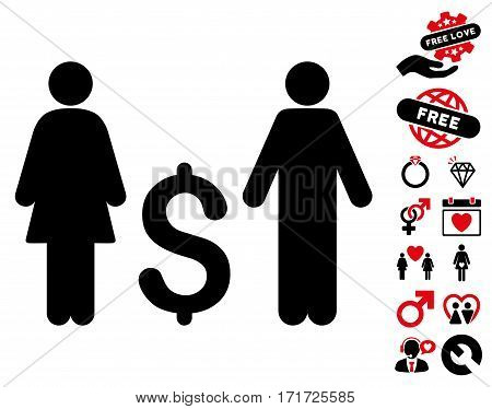 Family Dollar pictograph with bonus lovely clip art. Vector illustration style is flat iconic intensive red and black symbols on white background.