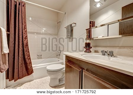 Two Tones Bathroom Interior Design In Apartment