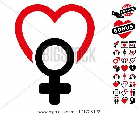 Female Love pictograph with bonus marriage icon set. Vector illustration style is flat iconic intensive red and black symbols on white background.