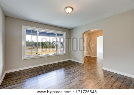 Empty Rambler Home Interior With Grey Walls Paint Color