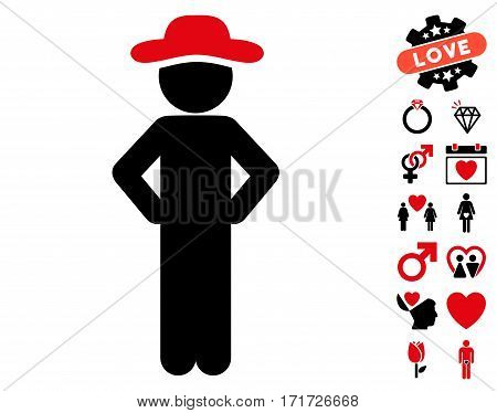 Gentleman Akimbo icon with bonus passion icon set. Vector illustration style is flat iconic intensive red and black symbols on white background.