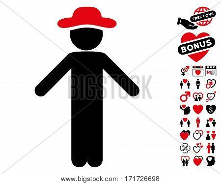 Gentleman Apology pictograph with bonus passion design elements. Vector illustration style is flat iconic intensive red and black symbols on white background.