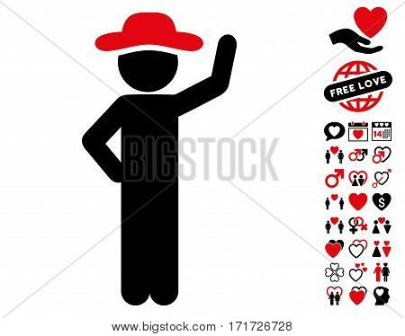 Gentleman Assurance pictograph with bonus marriage pictograms. Vector illustration style is flat iconic intensive red and black symbols on white background.