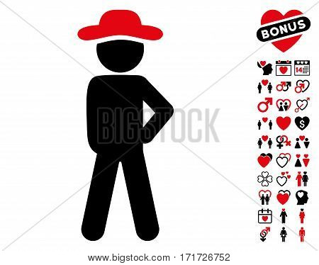Gentleman Audacity icon with bonus amour pictograph collection. Vector illustration style is flat iconic intensive red and black symbols on white background.