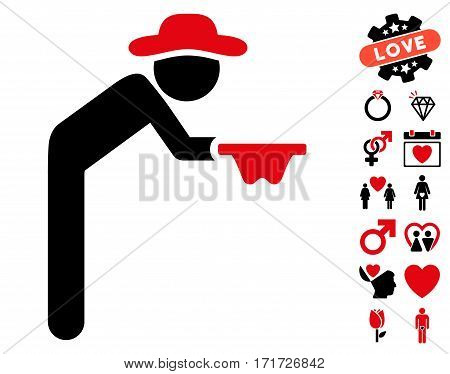 Gentleman Beggar pictograph with bonus passion graphic icons. Vector illustration style is flat iconic intensive red and black symbols on white background.