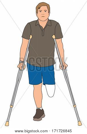 Left leg amputee is using crutches to get around