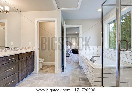 Gorgeous Bathroom Interior Boasts Drop-in Tub