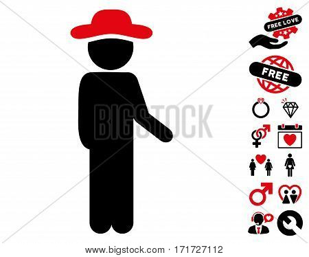 Gentleman Idler icon with bonus decorative clip art. Vector illustration style is flat iconic intensive red and black symbols on white background.