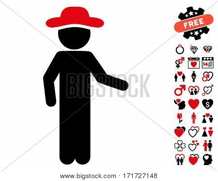 Gentleman Invitation pictograph with bonus decoration graphic icons. Vector illustration style is flat iconic intensive red and black symbols on white background.